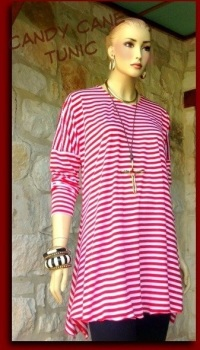 CANDY CANE RED STRIPE  TUNIC OSS